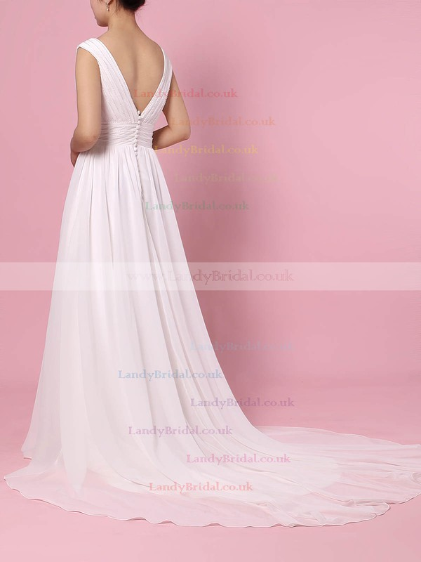 Chiffon V-neck A-line Sweep Train Beading Wedding Dresses #LDB00023396