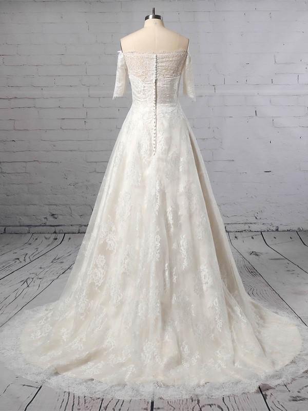 Lace Off-the-shoulder Princess Sweep Train Wedding Dresses #LDB00023397