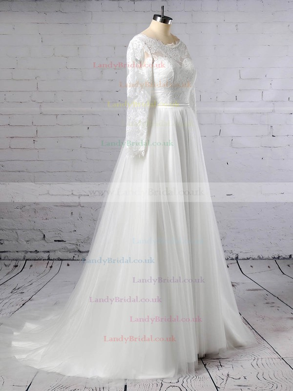 Lace Tulle Scoop Neck A-line Sweep Train Appliques Lace Wedding Dresses #LDB00023402