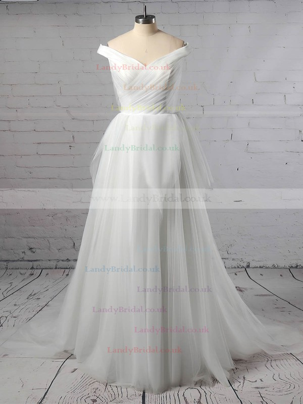 Tulle Off-the-shoulder Ball Gown Sweep Train Ruffles Wedding Dresses #LDB00023404