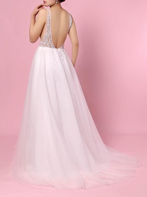 Tulle V-neck Princess Sweep Train Beading Wedding Dresses #LDB00023406