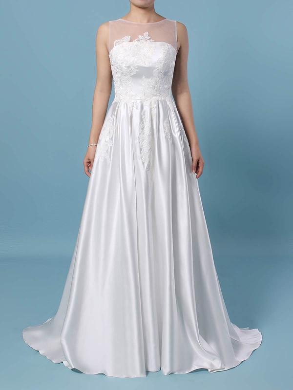 Satin Tulle Scoop Neck Princess Sweep Train Appliques Lace Wedding Dresses #LDB00023420