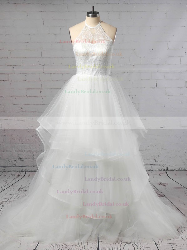 Tulle Halter Ball Gown Sweep Train Lace Wedding Dresses #LDB00023421