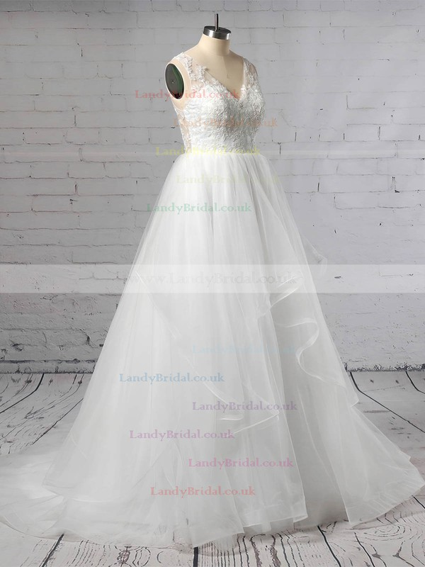 Lace Tulle V-neck Princess Sweep Train Cascading Ruffles Wedding Dresses #LDB00023422