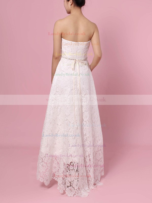 Lace Strapless A-line Asymmetrical Sashes / Ribbons Wedding Dresses #LDB00023425