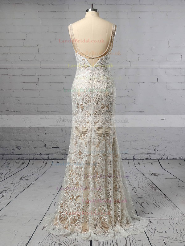 Lace V-neck Trumpet/Mermaid Sweep Train Beading Wedding Dresses #LDB00023428