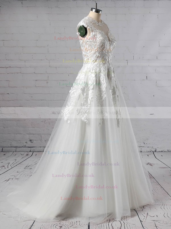 Tulle Scoop Neck A-line Sweep Train Appliques Lace Wedding Dresses #LDB00023431