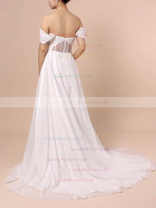 Organza Off-the-shoulder Ball Gown Sweep Train Split Front Wedding Dresses #LDB00023433