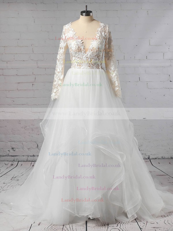 Organza Tulle V-neck Ball Gown Sweep Train Cascading Ruffles Wedding Dresses #LDB00023436