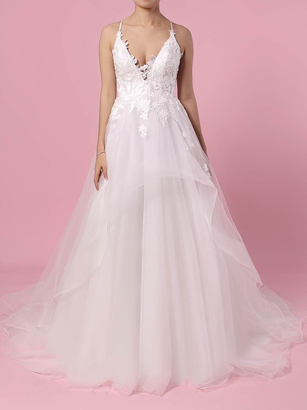 Tulle V-neck Ball Gown Sweep Train Appliques Lace Wedding Dresses #LDB00023438
