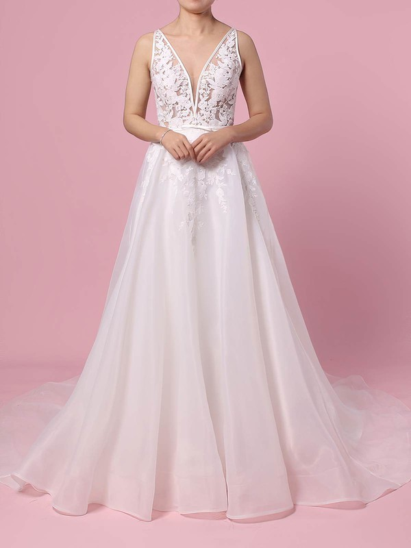 Organza Tulle V-neck A-line Sweep Train Appliques Lace Wedding Dresses #LDB00023442