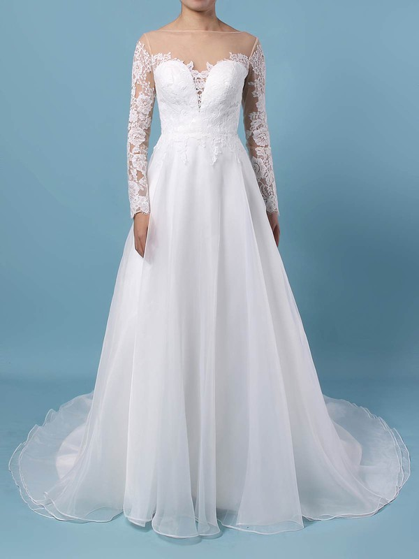 Organza Tulle Scoop Neck A-line Sweep Train Appliques Lace Wedding Dresses #LDB00023444