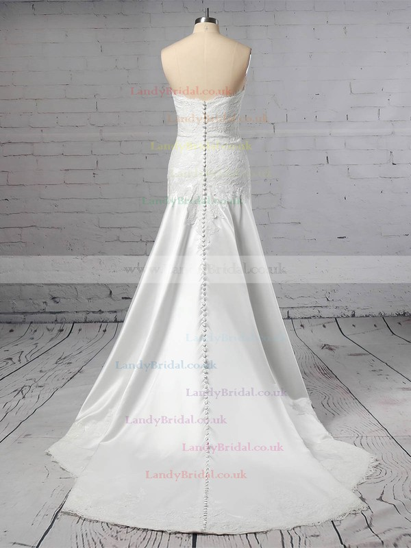Lace Satin Off-the-shoulder Sheath/Column Sweep Train Appliques Lace Wedding Dresses #LDB00023445