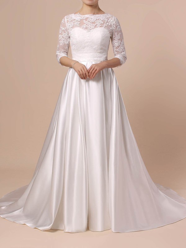 Lace Satin Scalloped Neck Ball Gown Sweep Train Sashes / Ribbons Wedding Dresses #LDB00023446