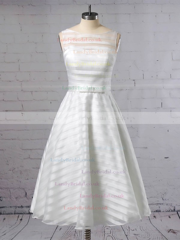 Organza Scoop Neck Ball Gown Tea-length Sashes / Ribbons Wedding Dresses #LDB00023449