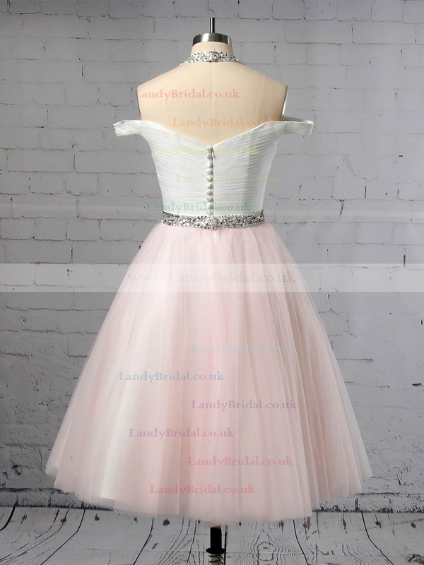 Tulle Halter Ball Gown Tea-length Beading Wedding Dresses #LDB00023450