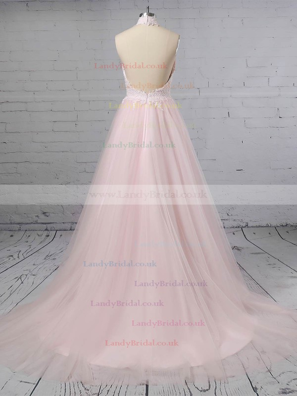 Tulle Halter A-line Sweep Train Appliques Lace Wedding Dresses #LDB00023452
