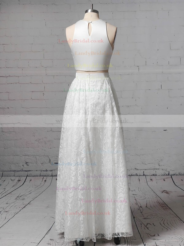Lace Scoop Neck A-line Floor-length Pockets Wedding Dresses #LDB00023456