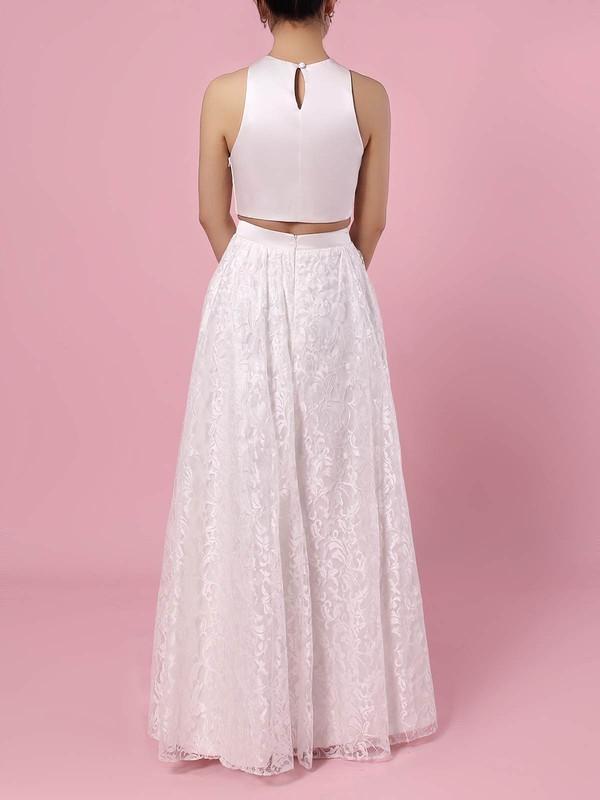 Lace Scoop Neck A-line Floor-length Pockets Wedding Dresses #LDB00023456