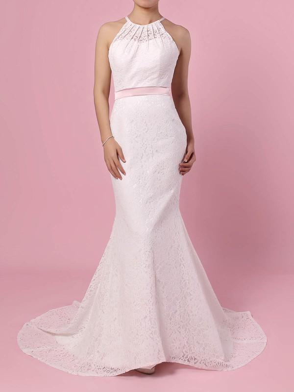 Lace Scoop Neck Trumpet/Mermaid Sweep Train Sashes / Ribbons Wedding Dresses #LDB00023457