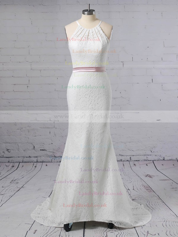 Lace Scoop Neck Trumpet/Mermaid Sweep Train Sashes / Ribbons Wedding Dresses #LDB00023457
