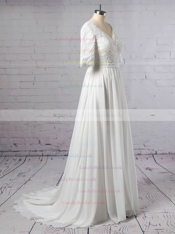 Lace Chiffon V-neck A-line Sweep Train Beading Wedding Dresses #LDB00023463
