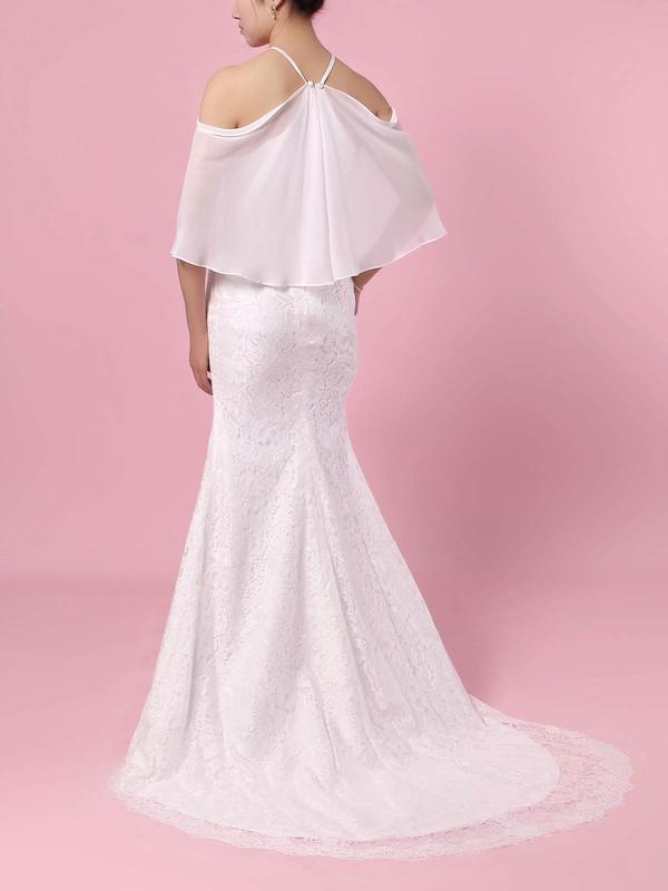 Lace Chiffon Off-the-shoulder Trumpet/Mermaid Sweep Train Wedding Dresses #LDB00023466