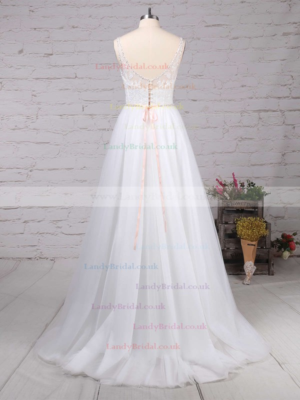 Tulle V-neck A-line Sweep Train Beading Wedding Dresses #LDB00023124
