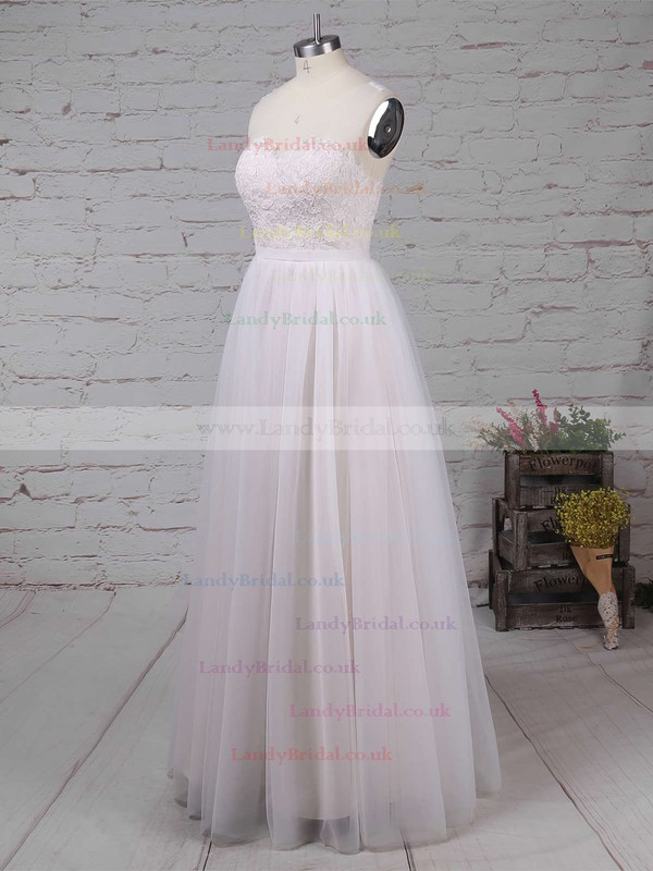 Tulle Scoop Neck A-line Sweep Train Appliques Lace Wedding Dresses #LDB00023126
