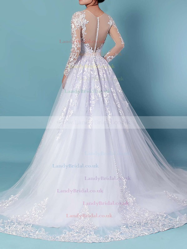 Organza Tulle Scoop Neck Ball Gown Sweep Train Appliques Lace Wedding Dresses #LDB00023141