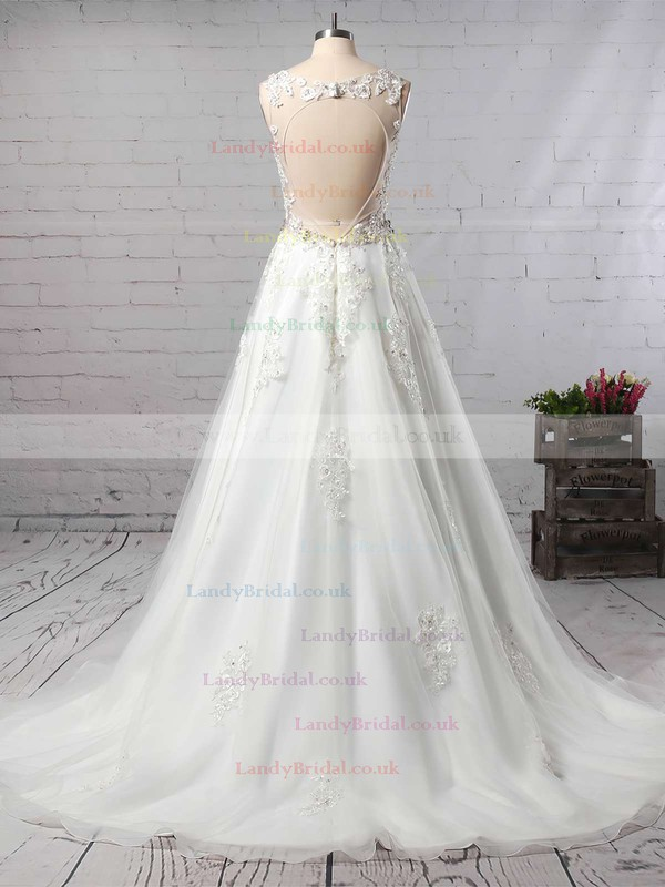 Organza V-neck Princess Court Train Beading Wedding Dresses #LDB00023147
