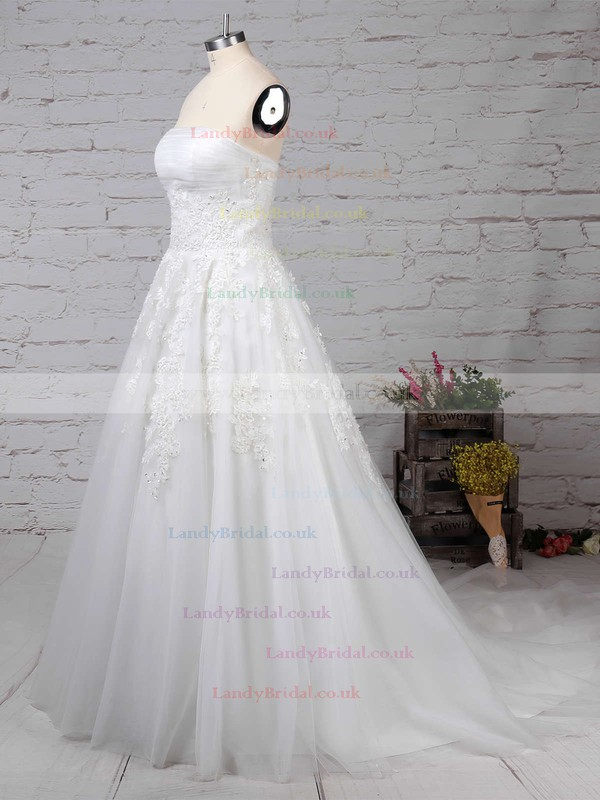 Tulle Strapless Ball Gown Sweep Train Appliques Lace Wedding Dresses #LDB00023175