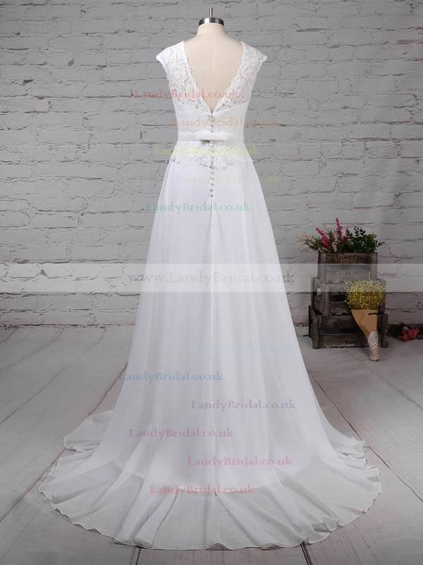 Lace Chiffon Scoop Neck A-line Sweep Train Beading Wedding Dresses #LDB00023197