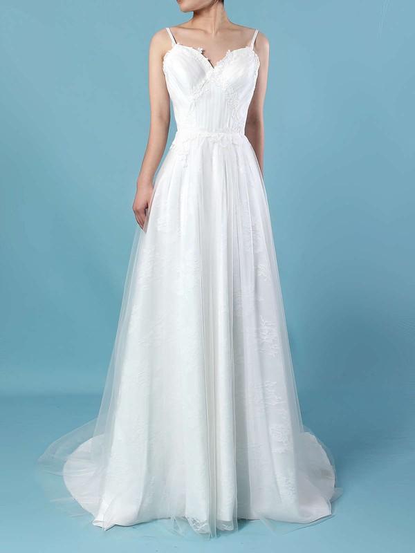 Tulle Lace V-neck A-line Sweep Train Appliques Lace Wedding Dresses #LDB00023211