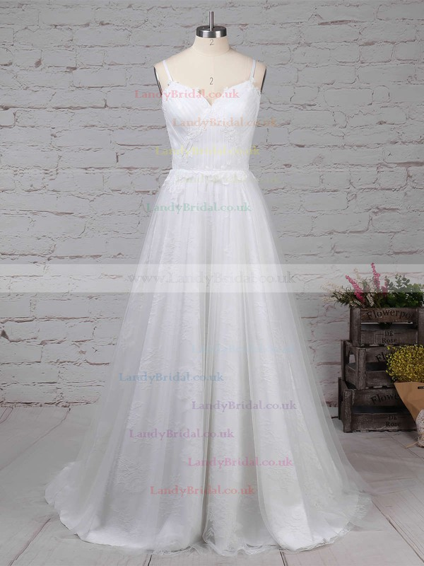 Tulle Lace V-neck A-line Sweep Train Appliques Lace Wedding Dresses #LDB00023211