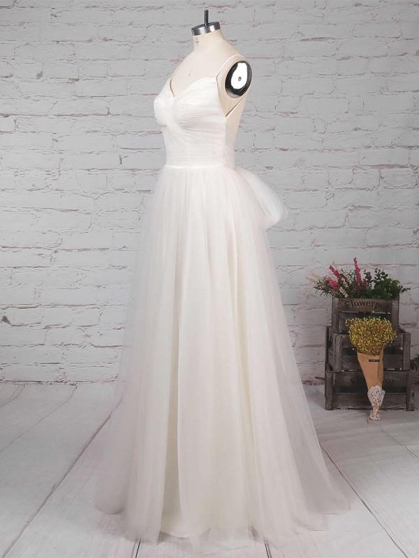 Tulle V-neck A-line Floor-length Ruffles Wedding Dresses #LDB00023214