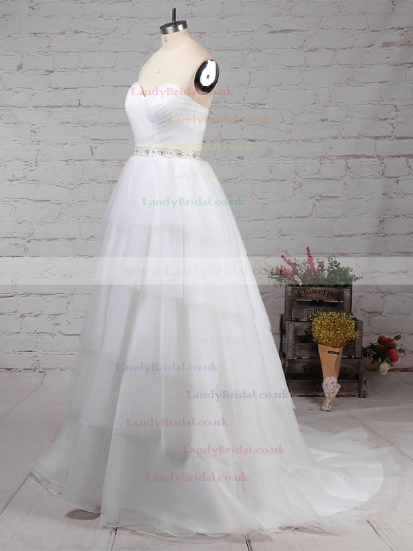 Tulle Sweetheart Ball Gown Sweep Train Beading Wedding Dresses #LDB00023216