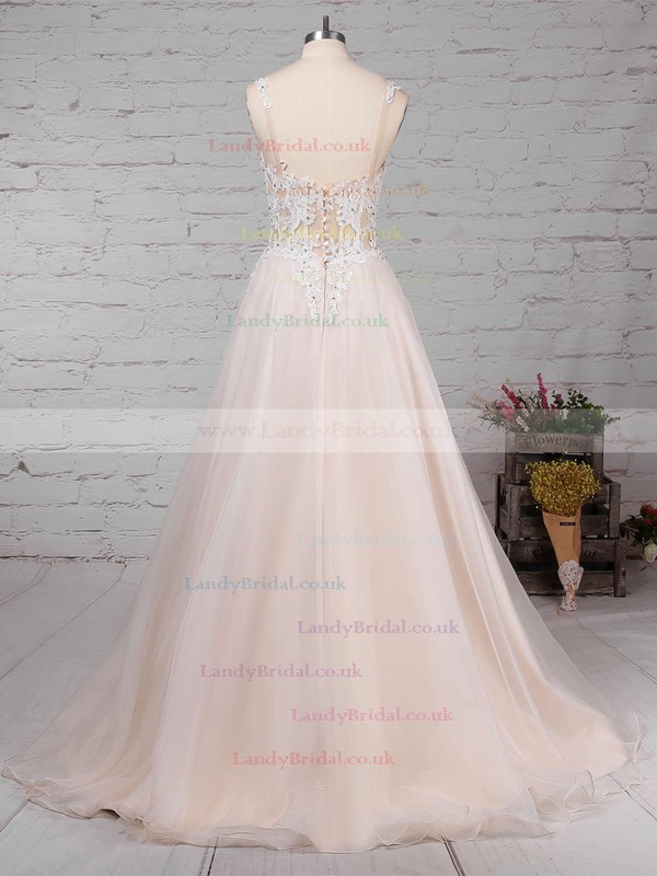 Tulle V-neck Ball Gown Sweep Train Appliques Lace Wedding Dresses #LDB00023220