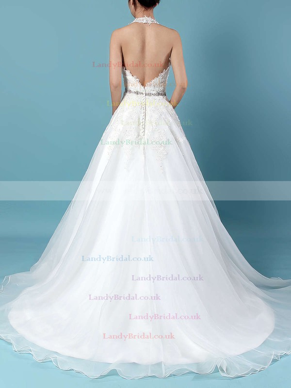 Tulle Halter Ball Gown Sweep Train Beading Wedding Dresses #LDB00023223