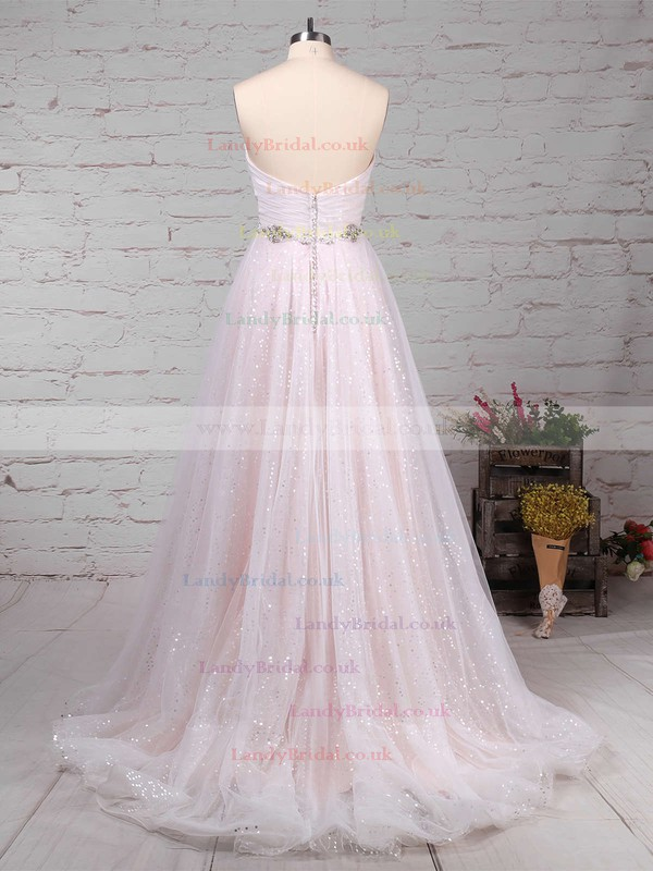 Tulle Sequined Sweetheart Princess Sweep Train Beading Wedding Dresses #LDB00023234