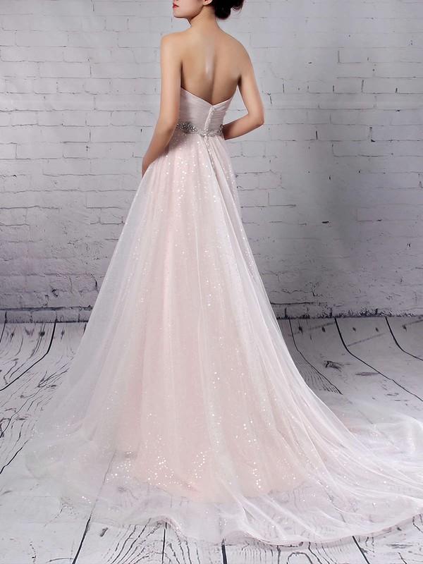 Tulle Sequined Sweetheart Princess Sweep Train Beading Wedding Dresses #LDB00023234