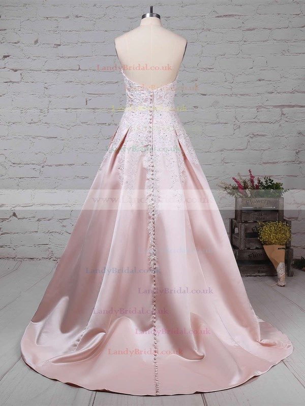 Satin Strapless Ball Gown Sweep Train Appliques Lace Wedding Dresses #LDB00023235