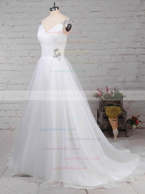 Organza Tulle V-neck Ball Gown Sweep Train Beading Wedding Dresses #LDB00023237