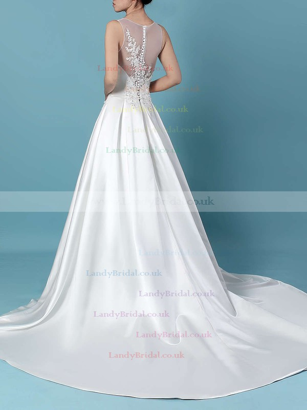 Satin Tulle V-neck Ball Gown Sweep Train Beading Wedding Dresses #LDB00023239