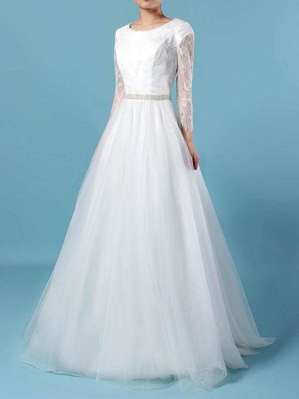 Lace Tulle Scoop Neck Princess Sweep Train Beading Wedding Dresses #LDB00023246