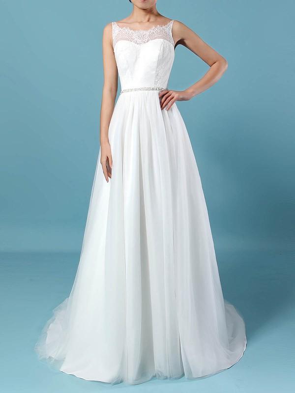 Lace Tulle Scoop Neck Princess Sweep Train Beading Wedding Dresses #LDB00023247