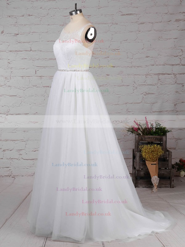 Lace Tulle Scoop Neck Princess Sweep Train Beading Wedding Dresses #LDB00023247