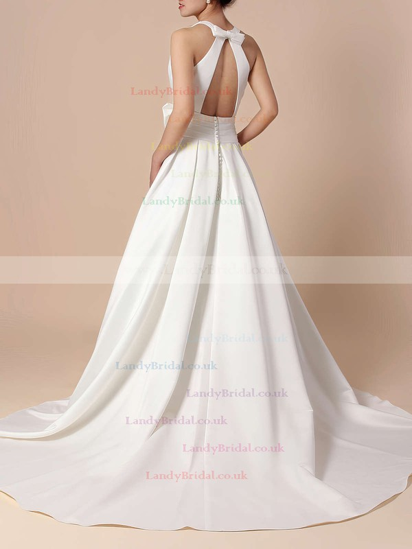 Satin Scoop Neck Ball Gown Sweep Train Bow Wedding Dresses #LDB00023255