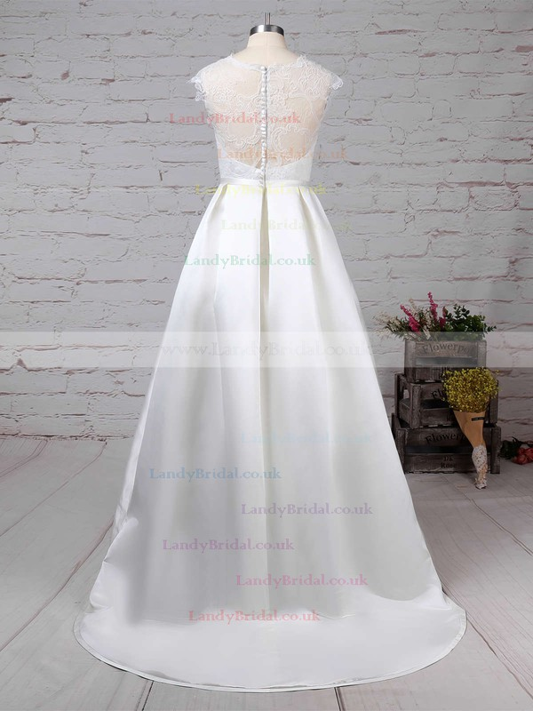 Lace Satin Scoop Neck Ball Gown Sweep Train Pockets Wedding Dresses #LDB00023263