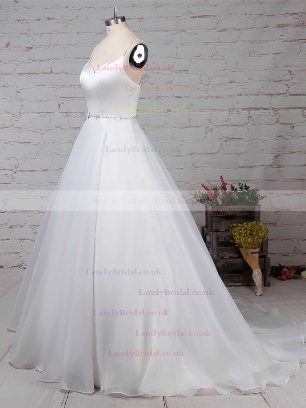 Organza V-neck Ball Gown Sweep Train Beading Wedding Dresses #LDB00023277